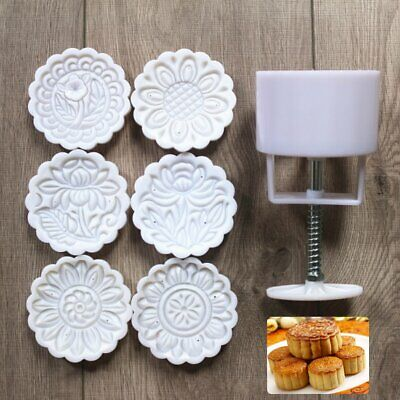6 Flower Stamps Mooncake Mold DIY Round Moon Cake Mould Baking Decor Tool 150g