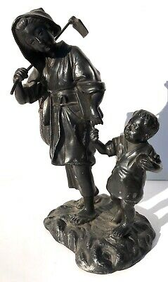 Stunning Antique Meiji Spelter Figure Of A Farm Woman And Her Son Japanese