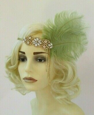 Gold Sage Moss Light Green Feather 1920s Headband Flapper Gatsby Deco 7566
