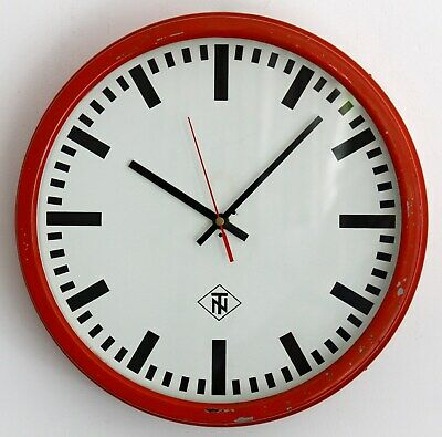 VINTAGE 34cm TN Telenorma Wall Clock - Red Metal Retro Large Factory Clock Gift