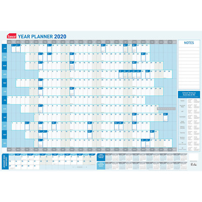2020 Planner◉SASCO◉Yearly Wall Calendar◉with Pen Kit◉870 x 610mm◉10580/20◉