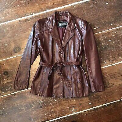 Vintage Leather Belted Blazer Womens Large Dark Brown Three Button 1980s Jacket