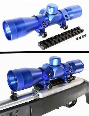 Custom Blue Ruger 10-22 Combo TRINITY 4X32 Scope With Mount & Rings New.