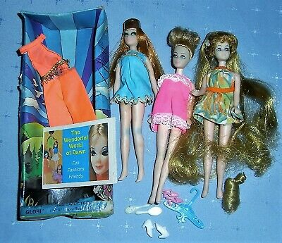 1970s Dawn Topper Dolls (x3) - Glori Head to Toe Dawn Denise Box Clothes Plus