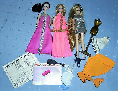 1970s Dawn Topper Dolls (x3) - Head to Toe Dawn Melanie Clothes Plus