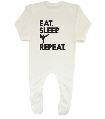 Eat Sleep Karate Repeat Boys Girls Baby Grow Sleepsuit