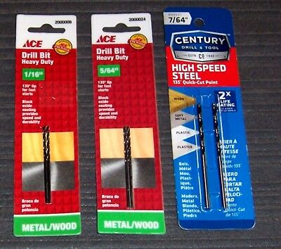 Assorted Lot of (6 pc. in 3 Packs) Twist, Drill Bits - See Description