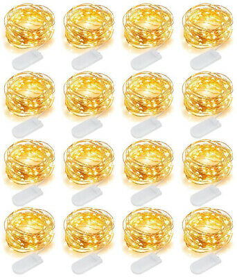 16 Pack 20 LED Battery Micro Rice Wire Silver Fairy String Lights Party Decor 2M
