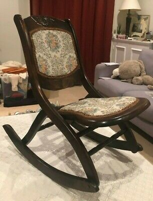 Antique Victorian foldable wooden rocking chair Floral Mahogany Rocker