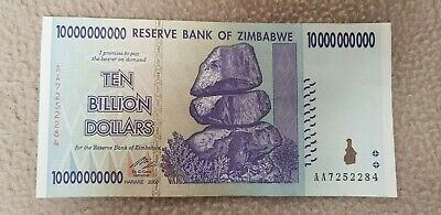 Ten Billion Dollars Reserve Bank Of Zimbabwe Bank Note. Uncirculated.