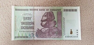 Fifty trillion Dollars Reserve Bank Of Zimbabwe Bank Note. Uncirculated.
