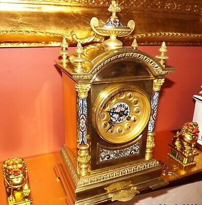 French c19th Cent polished and gilt brass CHAMPLEVE enamel clock A D MOUGIN