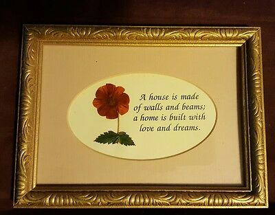Real dried floral home made picture with matted home sentiment
