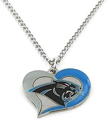 Carolina Panthers  Swirl Heart NFL Silver Team Pendant Necklace Aminco 20-Inch