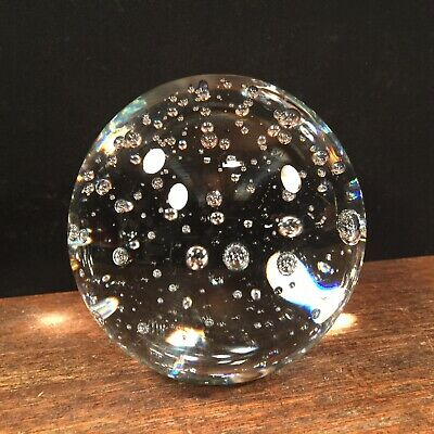 Vtg Glass Sphere Paperweight Art Glass Crystal Ball Bubbles Clear PRIORITY MAIL