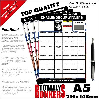 Rugby League Challenge Cup Scratch Cards  60 Teams - Fundraising