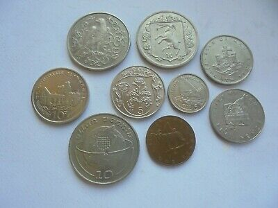 Isle of Man, Collection of 9 Coins, Good Condition