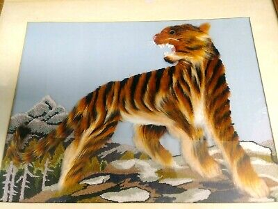 "Tiger Framed Decorative  Crafted Art Print Picture Hanging. Frame is L 19"" W 22"