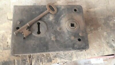 Victorian Iron Door Lock Antique Bolt Old Key Vintage Antique Keep Brass Keyhole