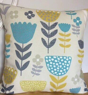 """16x16"""" Ochre Mustard Yellow Teal and Grey Scandi Flower Cushion Cover"""