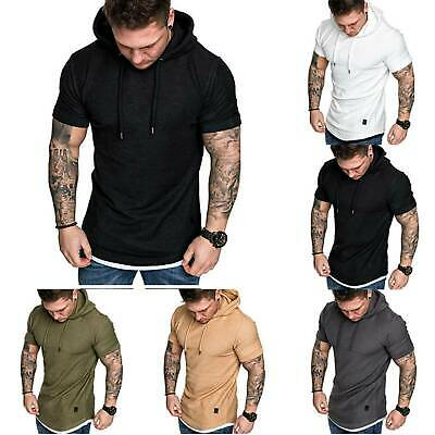 Gym Men Sleeveless Hoody Hooded Vests Pullover Tank Tops Muscle Clothes T-Shirts