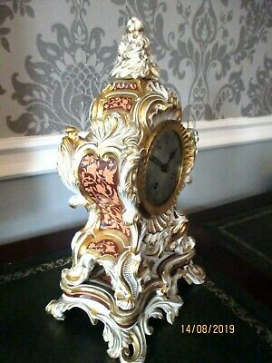 "Quality Porcelaine French 8 Day Striking Clock, by ""Raingo "" Paris, circa. 1850."