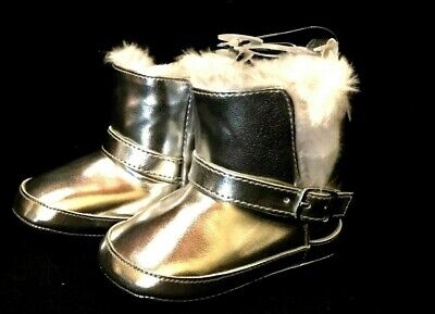 """New! Baby Girls Shiny SILVER """"First Steps"""" BOOTS  sz 4  9-12 mo  NWT"""