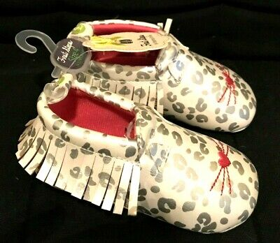 """New! Baby Girls WHITE Leopard print """"First Steps"""" SHOES  sz 4  9-12 mo  NWT"""