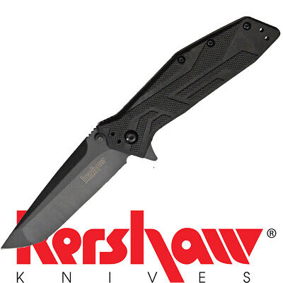 KERSHAW BRAWLER 1990 Folding Pocket Knife w/ Tanto Blade - BLACK