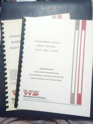 Wiedemann Saber 7000 9000 Right Angle Shear Operating Instruction Manual Book VG