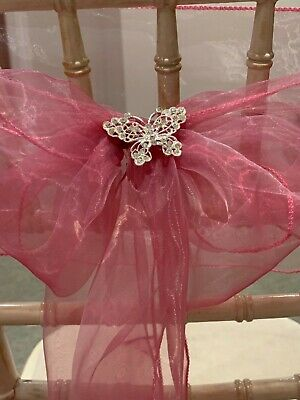 60cm Diamanté Butterfly  Brooches for Chair Sashes - Wedding