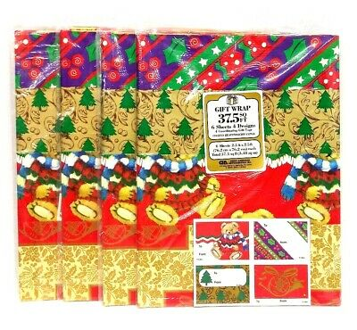 New- 4 Packs of Vintage NOS Christmas Holiday Gift Wrap Wrapping Paper 37.5 Sq