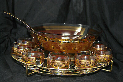 Vintage Mid Century Modern Culver Punch Bowl Set Festival Gold Wheat Roly Poly