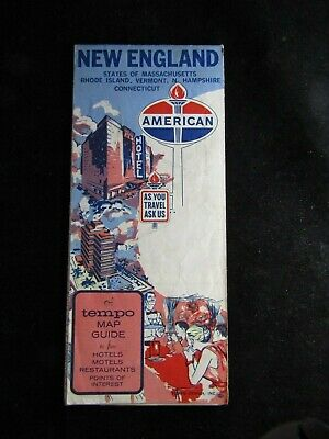 Vintage 1950s-60s American Oil Gasoline New England Road Map- Advertising