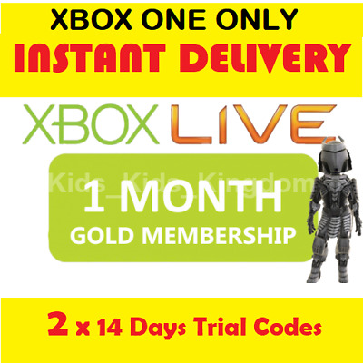 Xbox Live 1 month Gold Trial Membership Code (2 x 14 days) Xbox One Only-Instant