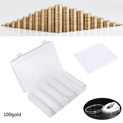 100x Coin Collection Cases Capsules Holder Applied Clear Round Storage W/ Box