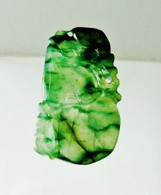 antique Qing Dynasty natura Chinese jadeite pendant dark green Icy jade