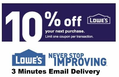 Three 3x Lowes 10% OFF3Coupons-InStore and Online-Fastest Delivery------EXP 9/30