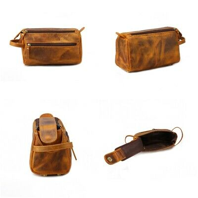 Leather Toiletry Bag Travel Mens Shaving Kit Organizer Women Grooming Case Pouch