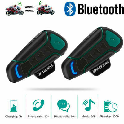 2pcs 1200M Auricolari Bluetooth Moto Intercom Interfono Moto Impermeabile NUOVA