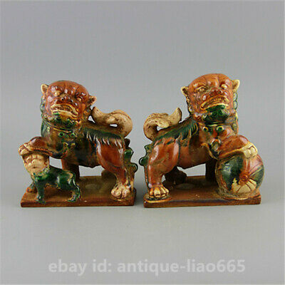 Chinese Ceramics Tang Sancai Glaze Pottery Foo Fu Dog Guardion Lion Statue Pair
