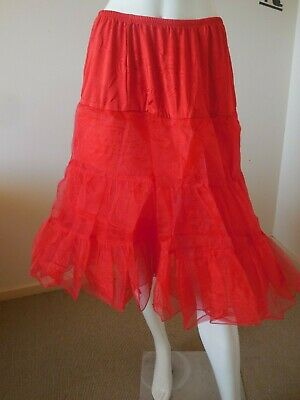Red Rock And Roll Full Petticoat  Rockabilly   Elastic  Waist    Size 12 To 14