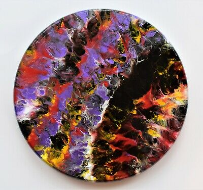 Circle Abstract Acrylic Painting On Wood Fluid Art Dirty Pour Art Trippy Art