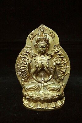 """Old Fine Chinese Gilt Bronze Many Hands """"Guanyin"""" Buddha Statue Sculpture"""