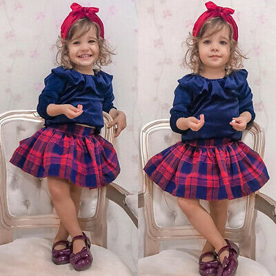 Kids Baby Girl Christmas Clothes Velvet Tops Blouse+Tutu Skirt Dress Outfits Set