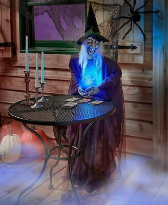 Life-Size Psychic Witch Creature w/ Lighted Crystal Ball Halloween Prop Decor