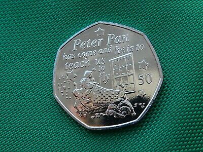Peter Pan 2019 50 pence UNC coin Isle of Man *Wendy &Nana MANX* Cheapest on Ebay