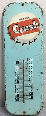"Vintage 1950's Orange Crush Soda Pop Gas Station 16"" Metal Thermometer Sign"