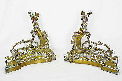 Antique Pair of Andirons Rococo Bronze Golden Accessory Fireplace Chimney