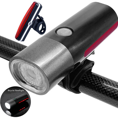 Rechargeable LED Bike Bicycle Light USB Waterproof Cycle Front Back Headlight AU